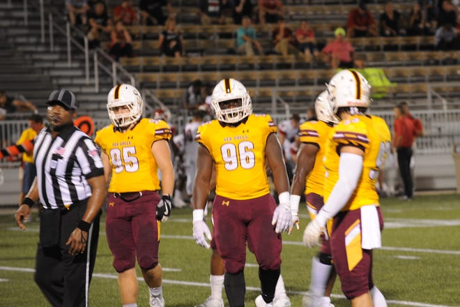 Members of the Salisbury University football team at Friday's game against Albright College.
