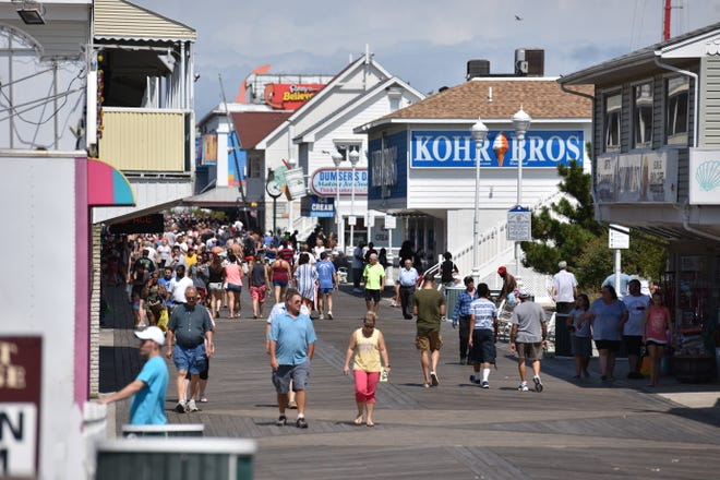 A busy boardwalk during Labor Day weekend in Ocean City on Saturday, Sept. 1, 2018.