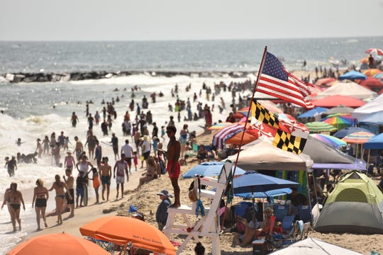 Crowds pack the beach in Ocean City during Labor Day weekend in Ocean City on Saturday, Sept. 1, 2018.