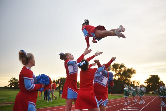 Bon Homme cheerleaders during the game against Miller/Highmore-Harrold Friday, Aug 31, at Bon Homme in Tyndall.