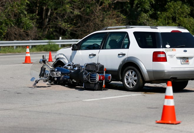 Police say a motorcyclist was killed after a crash on West Bypass at College Street on Saturday, Sept. 1, 2018. Lt. Tony Vienhage said according to witnesses, a car pulled out into traffic and hit a motorcycle heading northbound on West Bypass.