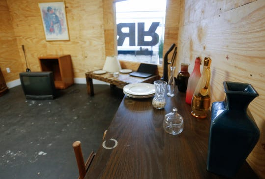 A room stocked with all sorts of breakable items, from bottles and jars to furniture and electronics, at the Rage Room on Glenstone Avenue. Customers pay a fee and get to break everything they can in the room.