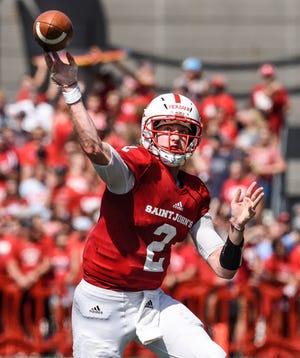 St. John's quarterback Jackson Erdmann during the Saturday, Sept. 1, game at Clemens Stadium in Collegeville.