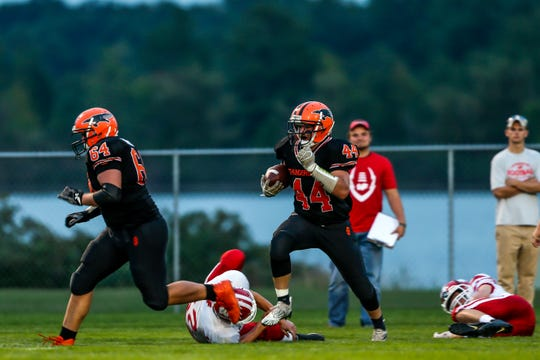 Iola-Scandinavia senior running back Bryce Huettner ranks fourth in the state with 960 yards after he chewed up 214 yards on 24 carries in a 47-12 win over Bonduel on Friday night.
