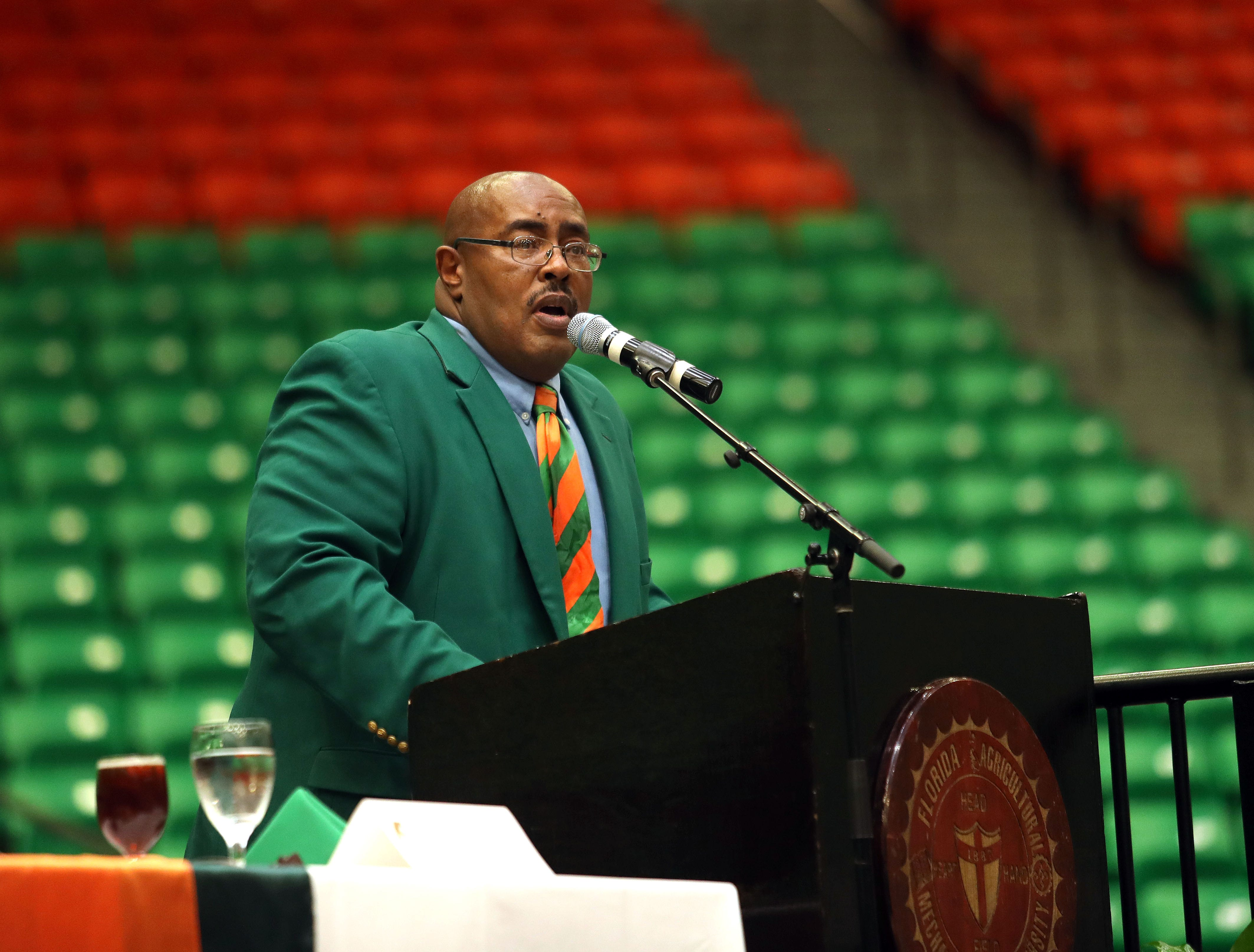 Alvin Hollins addresses the audience at the FAMU Sports Hall of Fame ceremony. Hollins is the chairman of the organization. He will be inducted in the MEAC Hall of Fame in 2019.