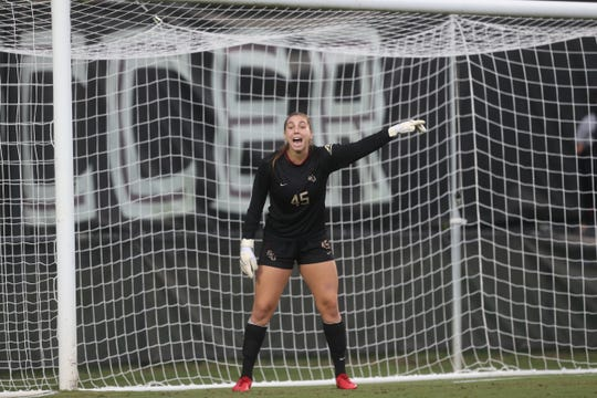 FSU's Brooke Bollinger yells out to her teammates during their match against the University of Southern California at the Seminole Soccer Complex on Friday, Aug. 31, 2018.