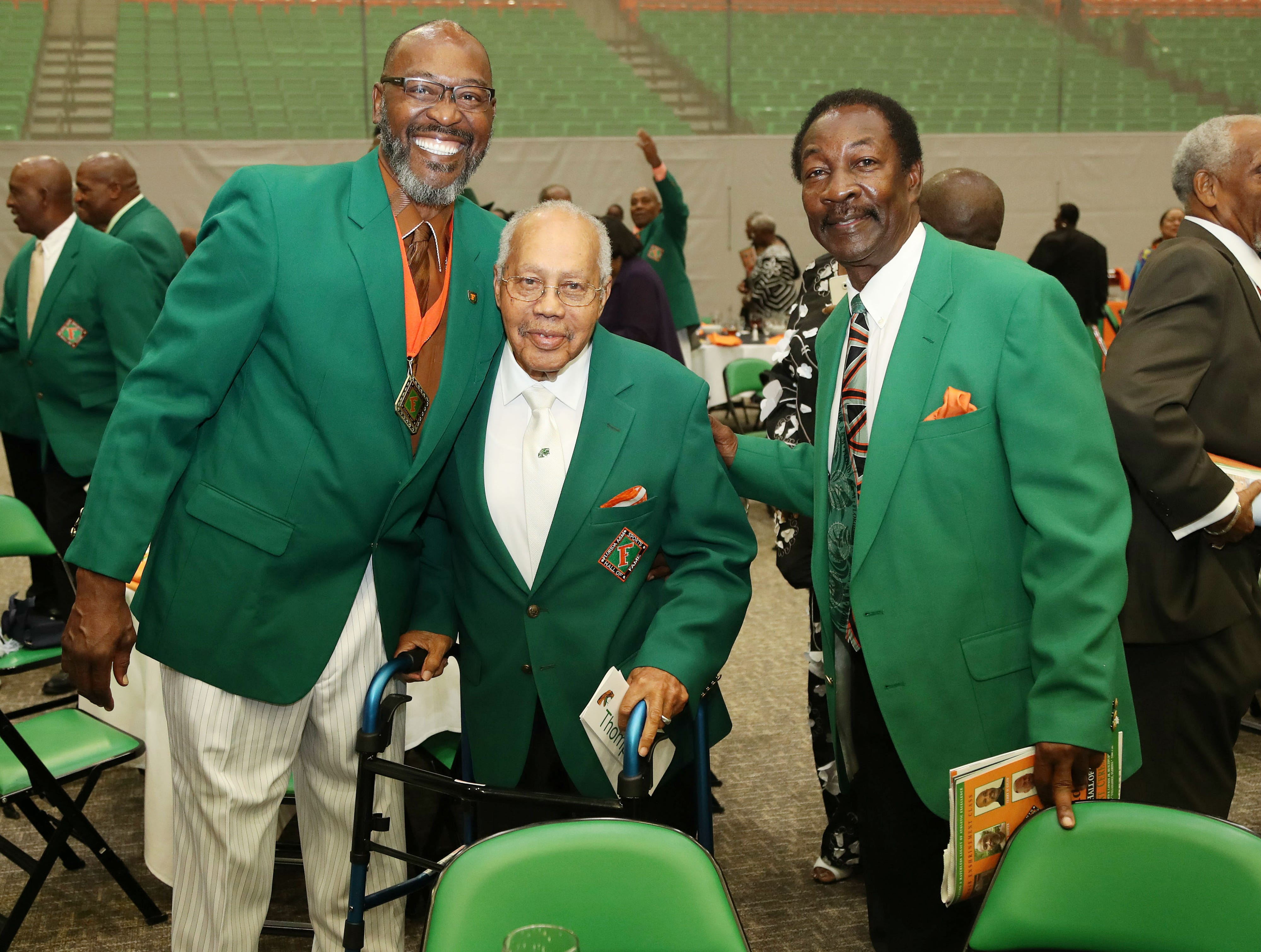 """FAMU Hall of Famers Bryan """"Sack Man"""" Brewer, George """"Godfather"""" Thompson and Ken Riley."""