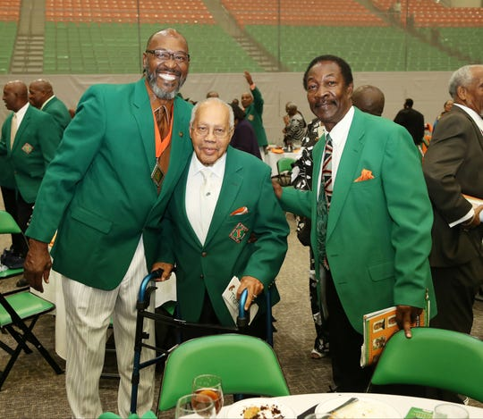 "FAMU Hall of Famers Bryan ""Sack Man"" Brewer, George ""Godfather"" Thompson and Ken Riley gather at the induction ceremony for the Class of 2018 on Aug. 30, 2018."