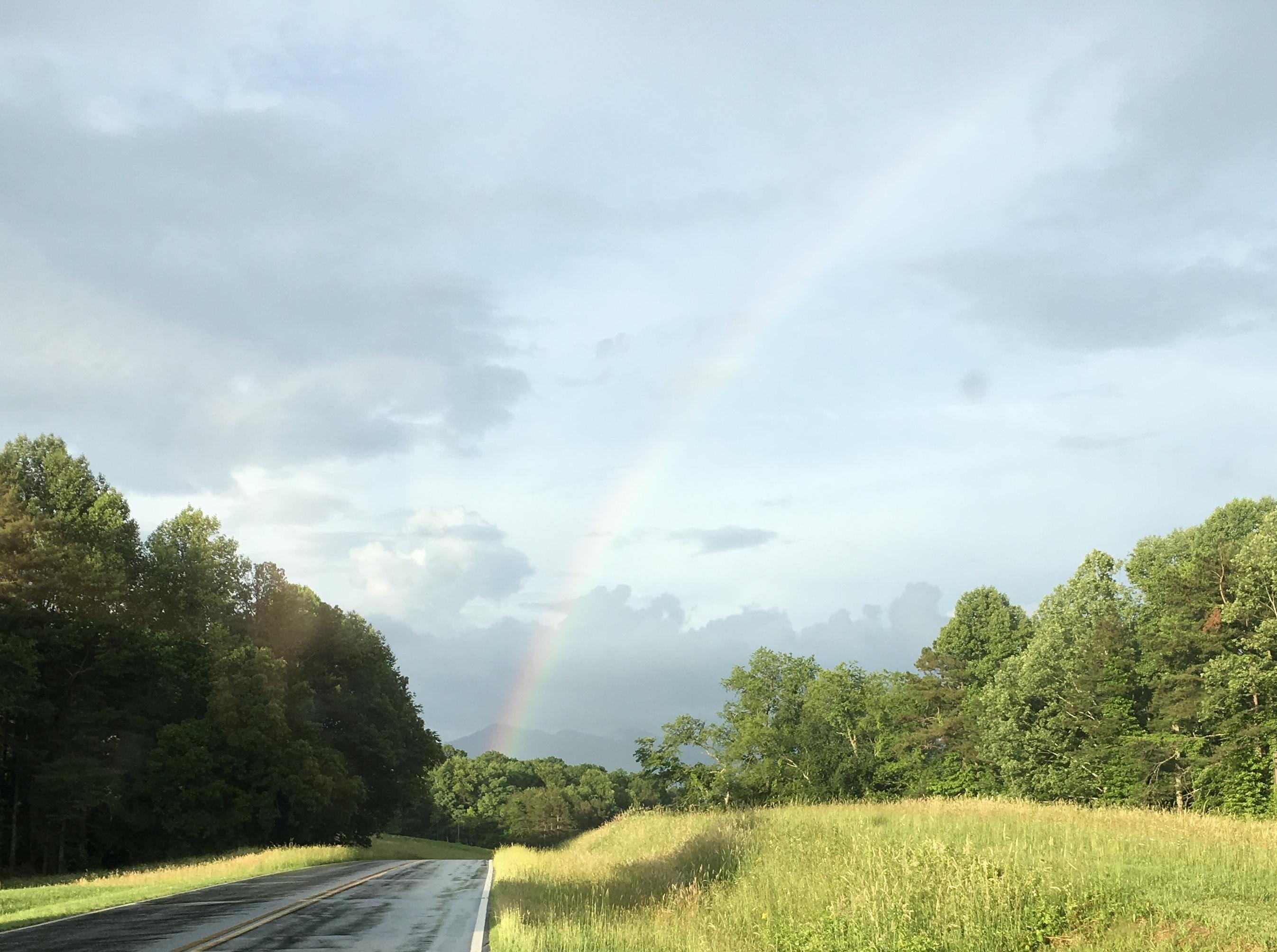 Rainbow in the Mountains: Evening rainbow Blairsville, Ga.