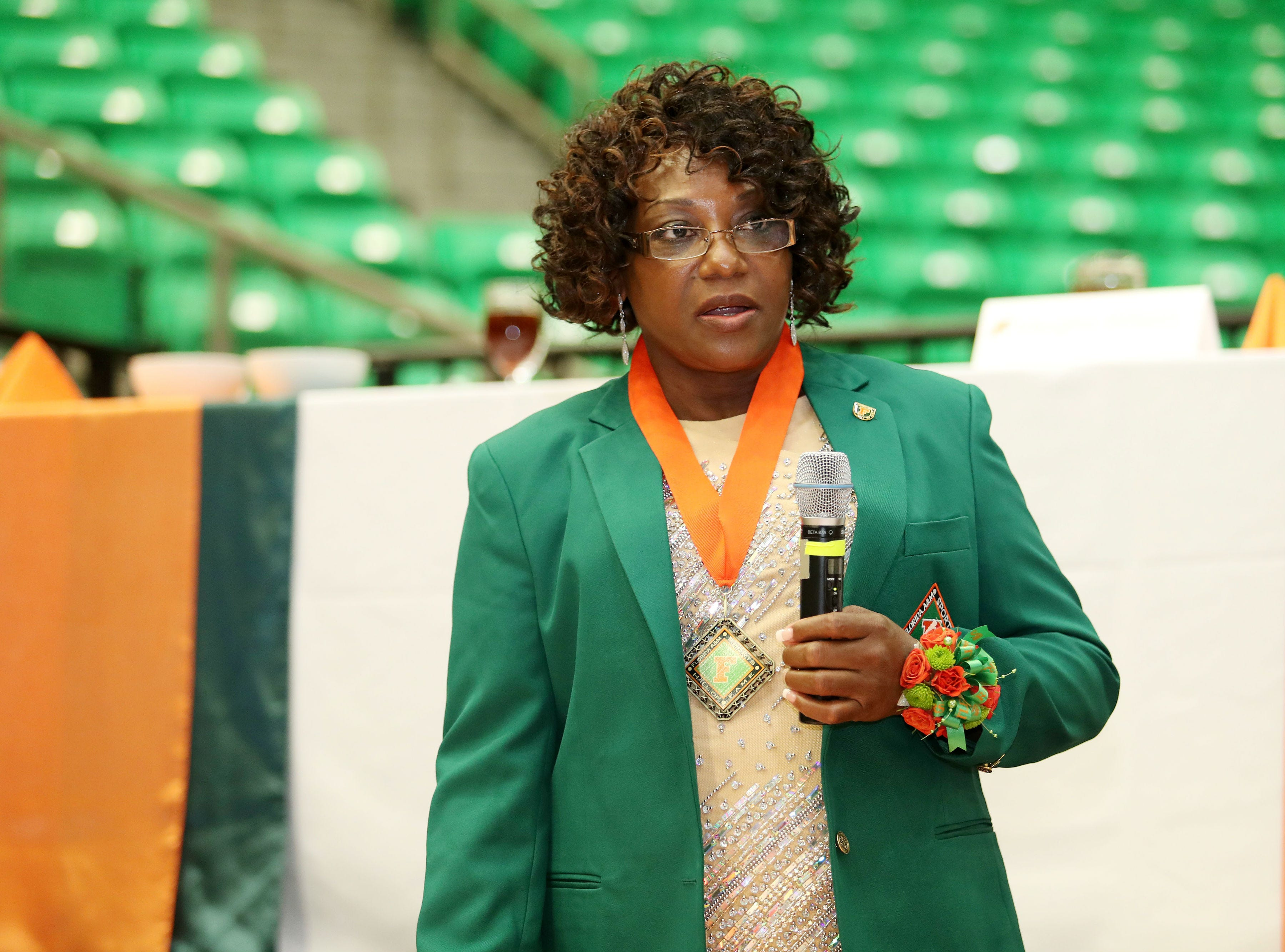 Linda Thomas Minor gives her enshrinement speech. She was a one of the most prolific scorers in FAMU women's basketball history.