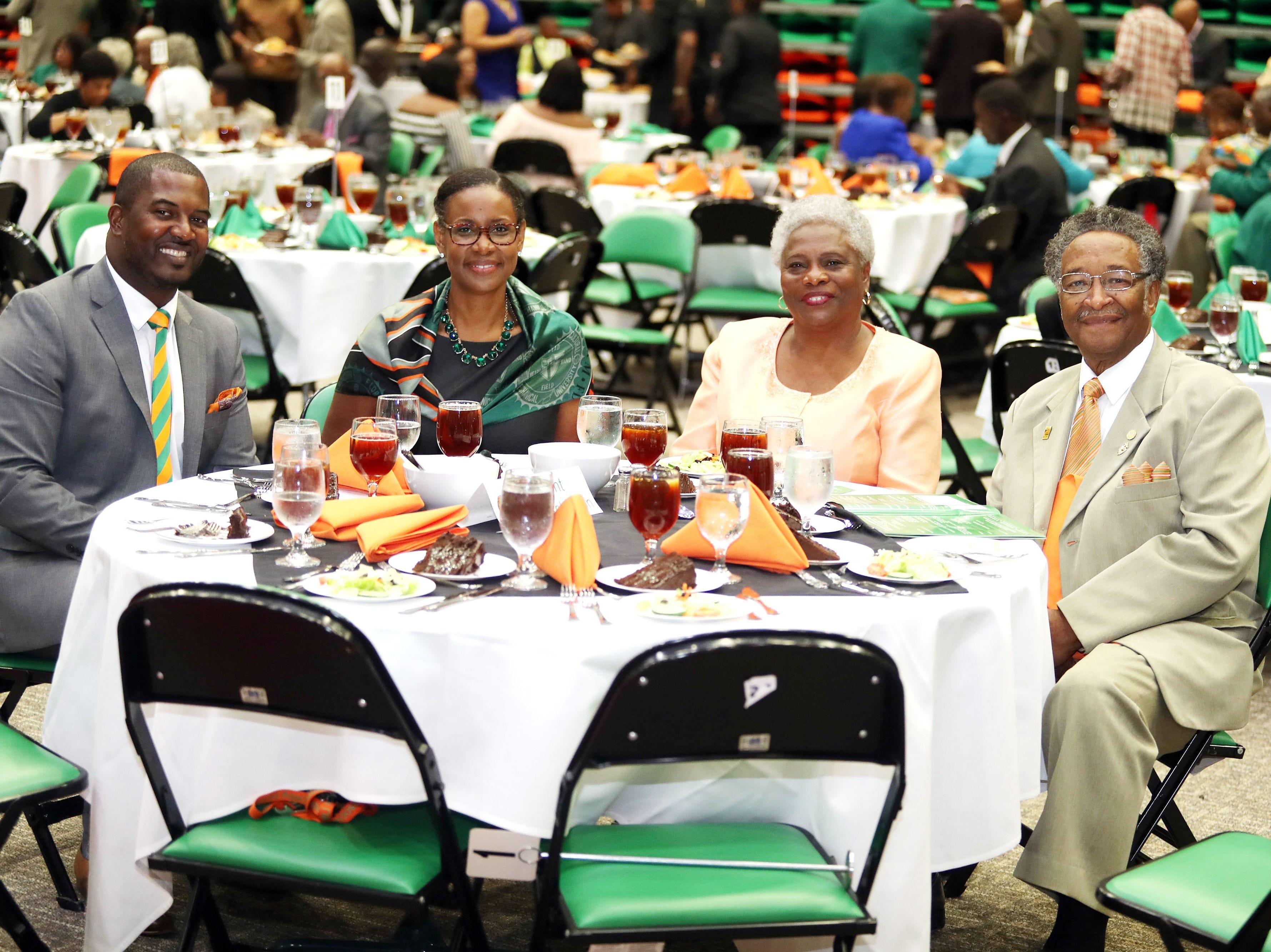FAMU football coach Willie Simmons, Sharon Robinson, Barbara Smith and Dr. Walter Smith.