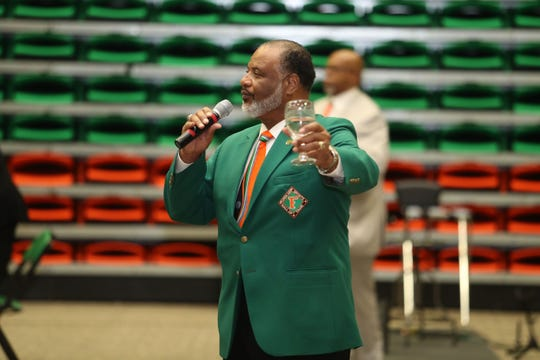Amos Hill gives a toast to the inductees at the 2018 FAMU Sports Hall of Fame banquet inside the Al Lawson Multipurpose Center.