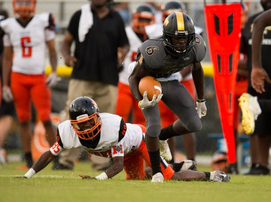The high school football game between Treasure Coast and Cocoa at South County Stadium on Friday, August 31, 2018 in Fort Pierce.