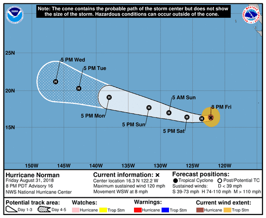 Projected path of Hurricane Norman as of 11 p.m. Friday, Aug. 31, 2018.