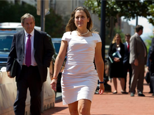 Canada's Foreign Affairs Minister Chrystia Freeland arrives for trade talks at the Office of the United States Trade Representative, Friday, Aug. 31, 2018, in Washington.