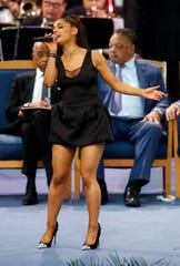 Ariana Grande performs during the funeral service for Aretha Franklin at Greater Grace Temple, Friday, Aug. 31, 2018, in Detroit. Franklin died Aug. 16, 2018 of pancreatic cancer at the age of 76.