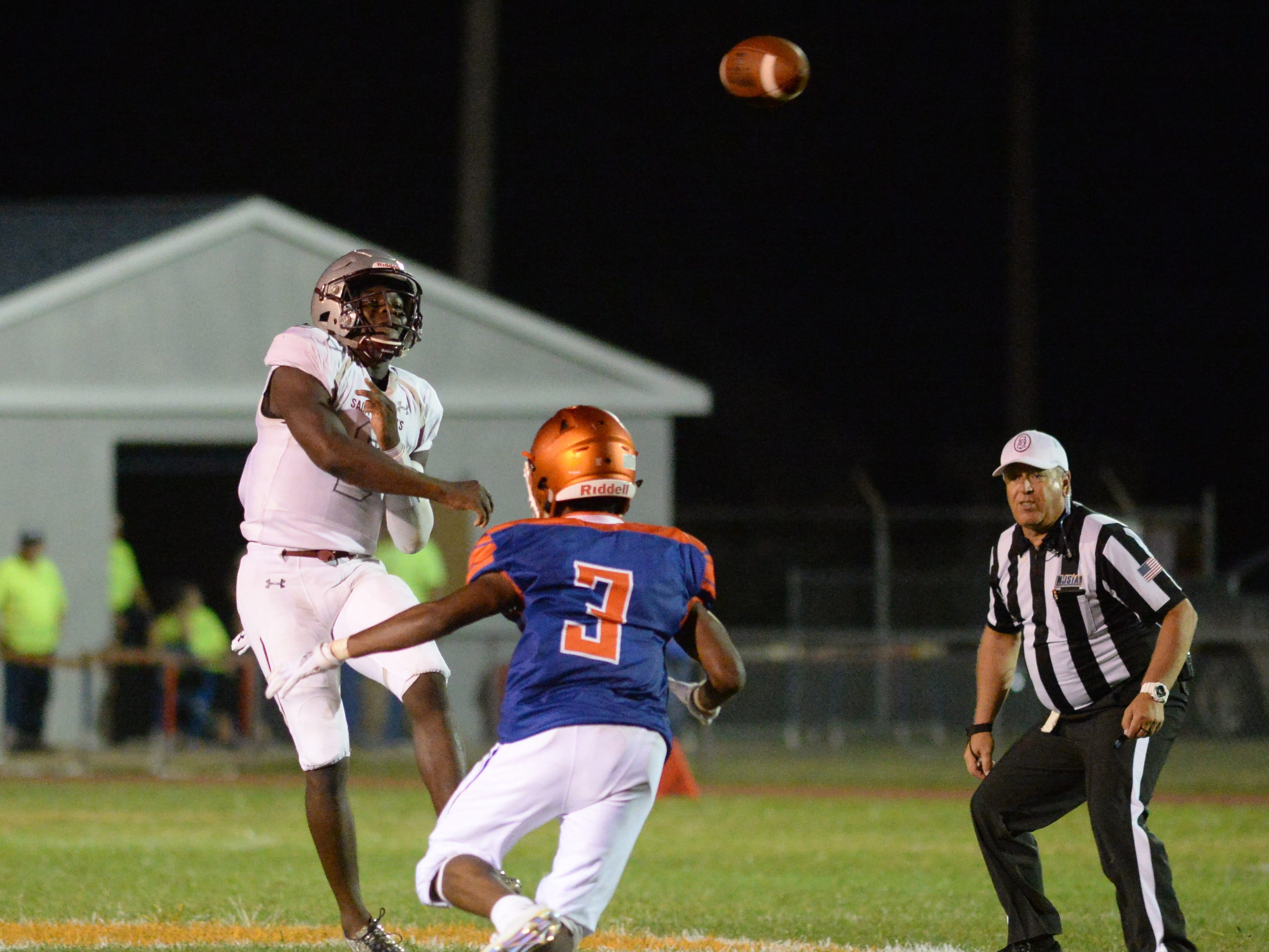 St. Peter's Prep's Maasai Maynor throws the ball during the season opening football game against Millville at Millville Memorial High School, Friday, Aug. 31, 2018.