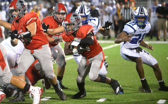 Vineland RB, Nahzir Broome runs the ball in the second quarter against Williamstown. The visiting Braves topped The Fighting Clan 24-7 on Friday, August 31.