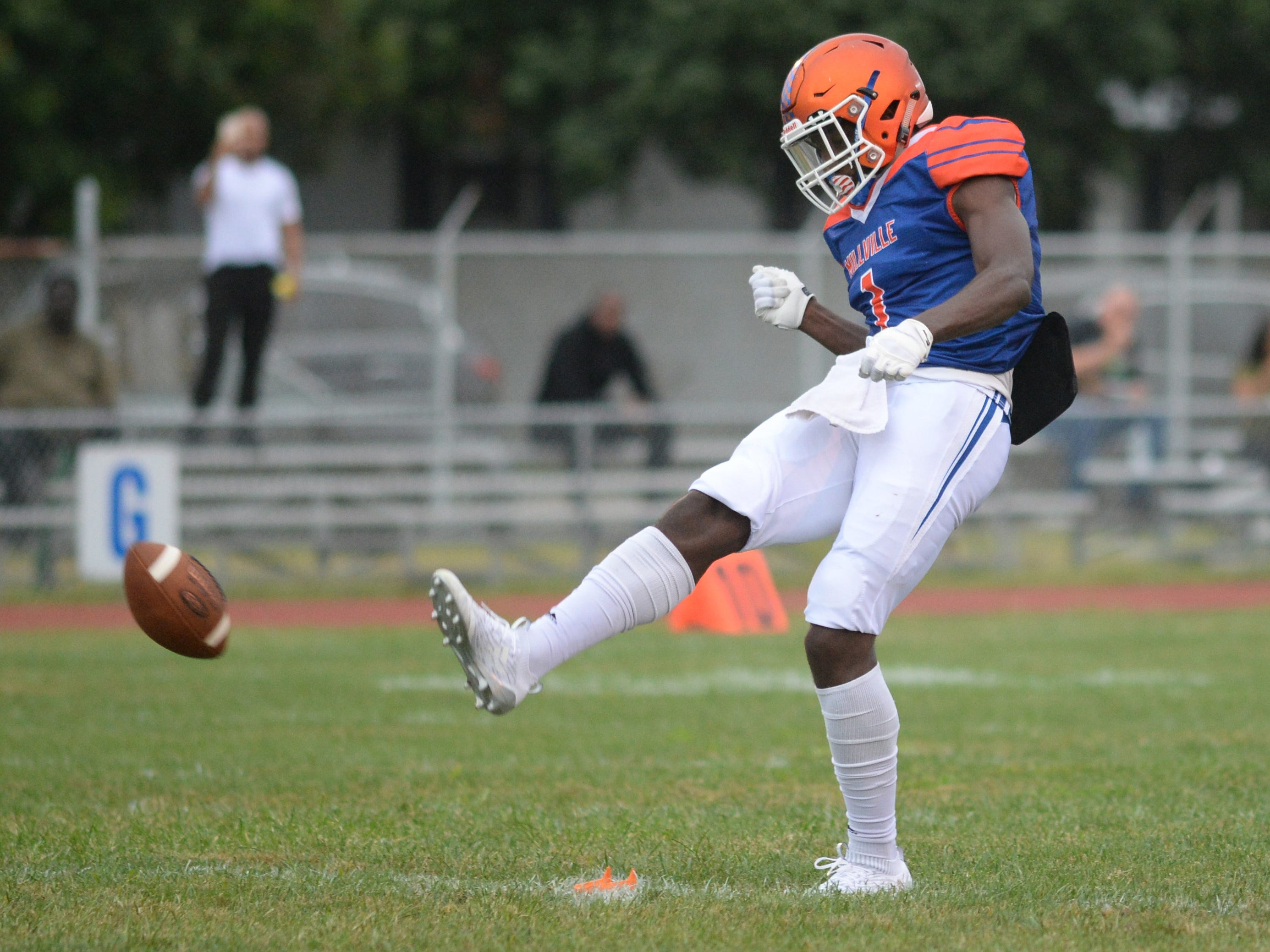 Millville's Solomon DeShields kicks the ball off to start the season opening football game against St. Peter's Prep at Millville Memorial High School, Friday, Aug. 31, 2018.