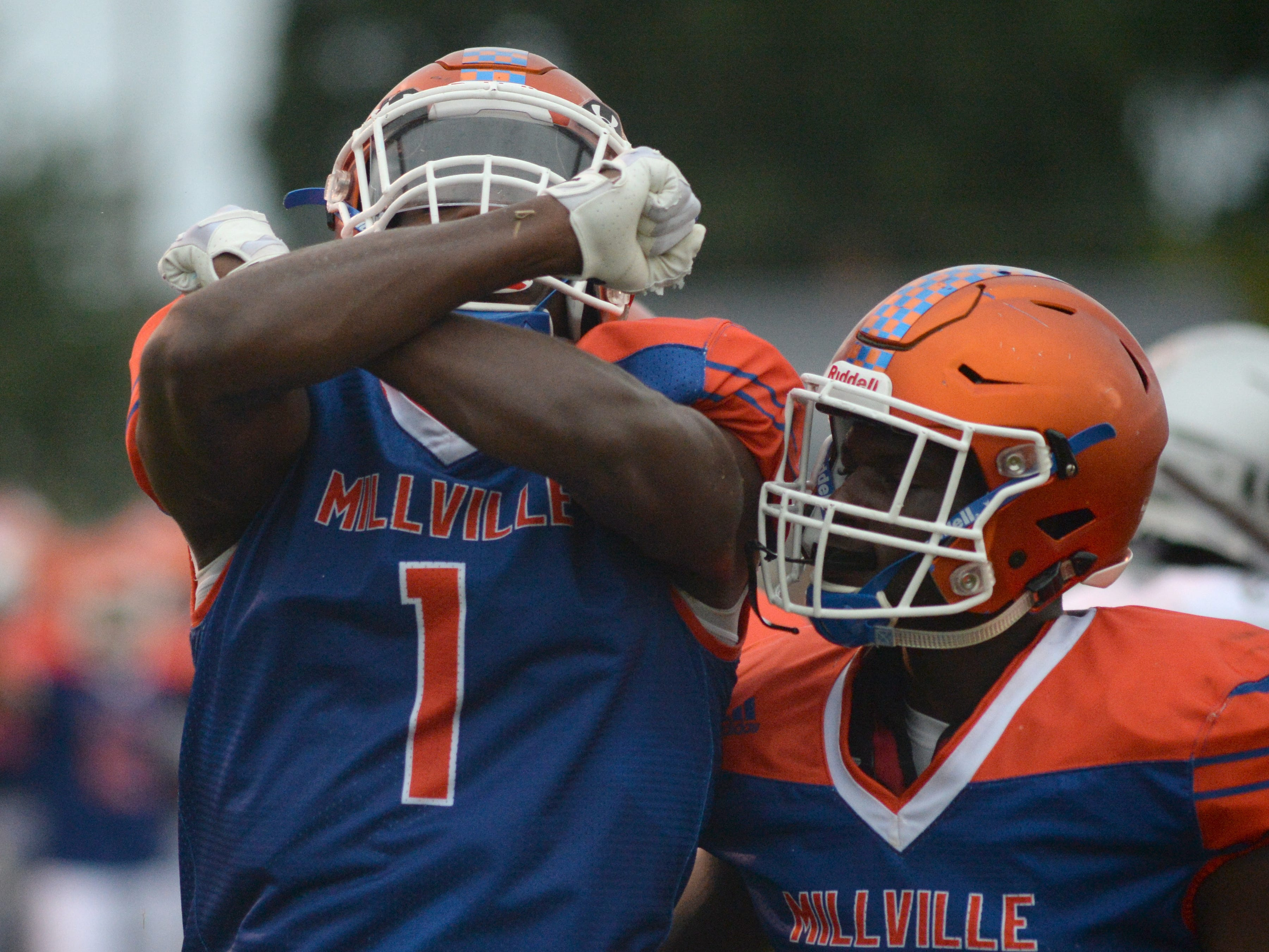 Millville's Solomon DeShields celebrates after catching a touchdown pass during the season opening football game against St. Peter's Prep at Millville Memorial High School, Friday, Aug. 31, 2018.
