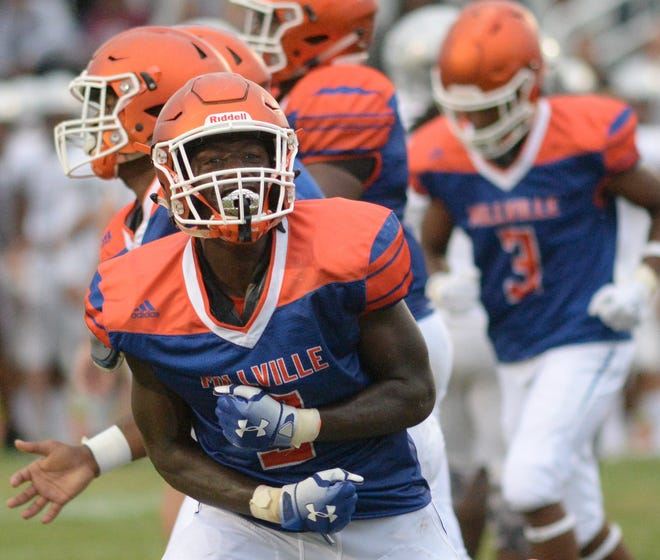 Millville's Kyle Yancy reacts after making a defensive stop during the season opening football game against St. Peter's Prep at Millville Memorial High School, Friday, Aug. 31, 2018.