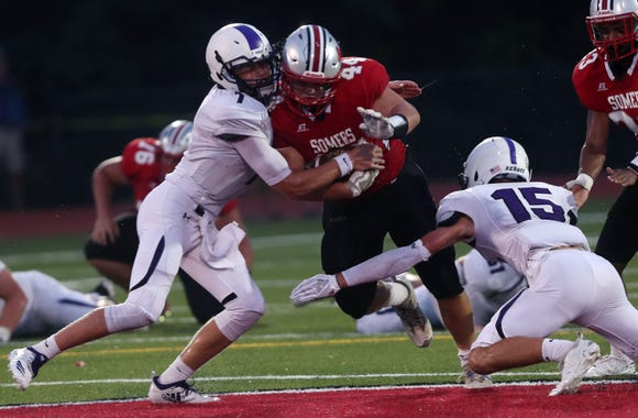 John Jay (CR) defeated Somers 34-20 in opening night football action at Somers High School Aug. 31, 2018.
