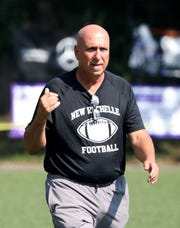 Lou DiRienzo, the New Rochelle head coach, during the New Rochelle vs. the Yonkers Brave football game at City Park in New Rochelle, Sept. 1, 2018