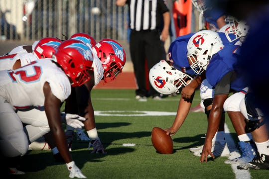Hirschi's defense lines up against Graham Friday Aug. 31, 2018, at Graham's Newton Field.