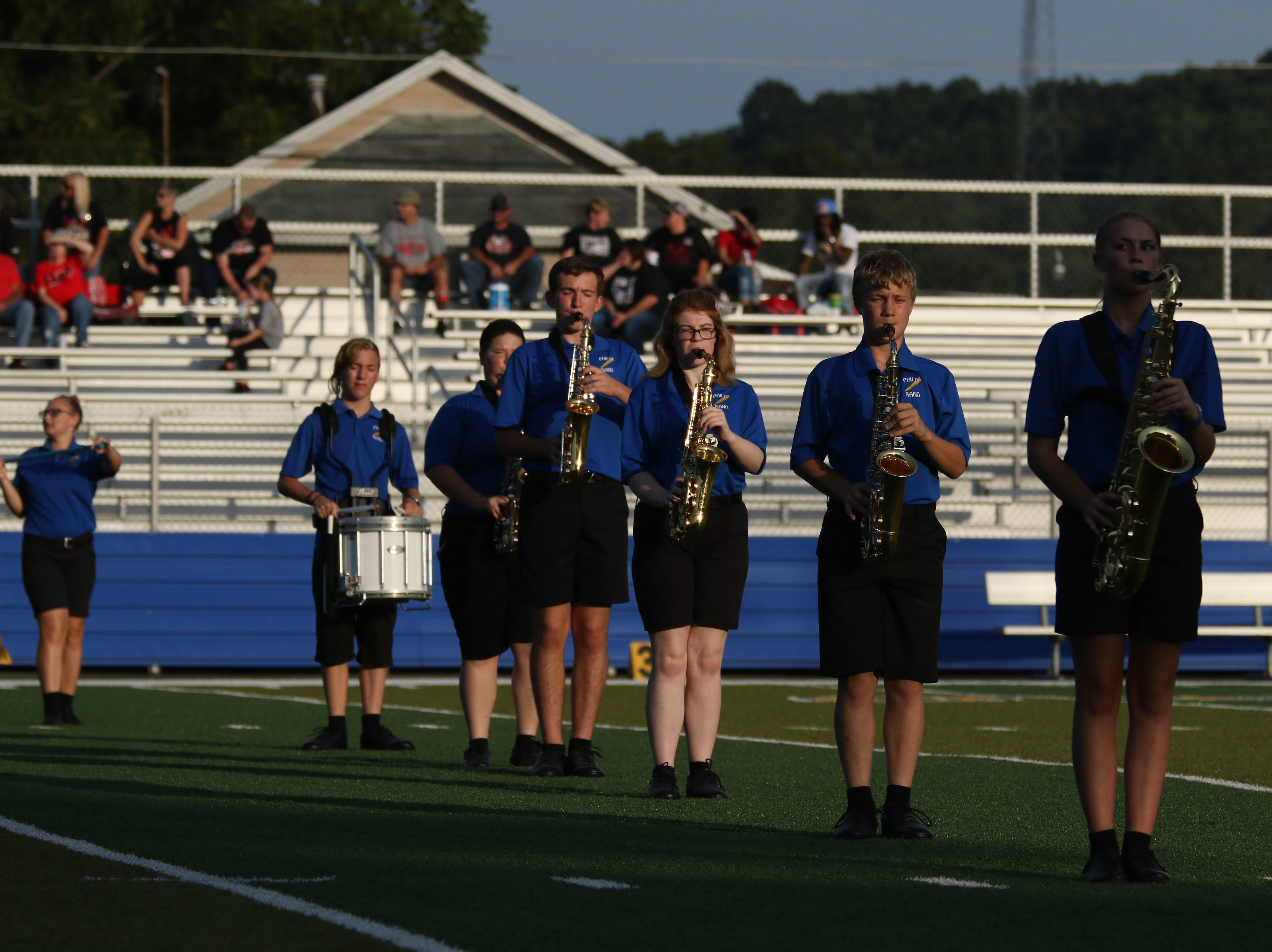 The Philo High School marching band performs before Friday's game against Crooksville.