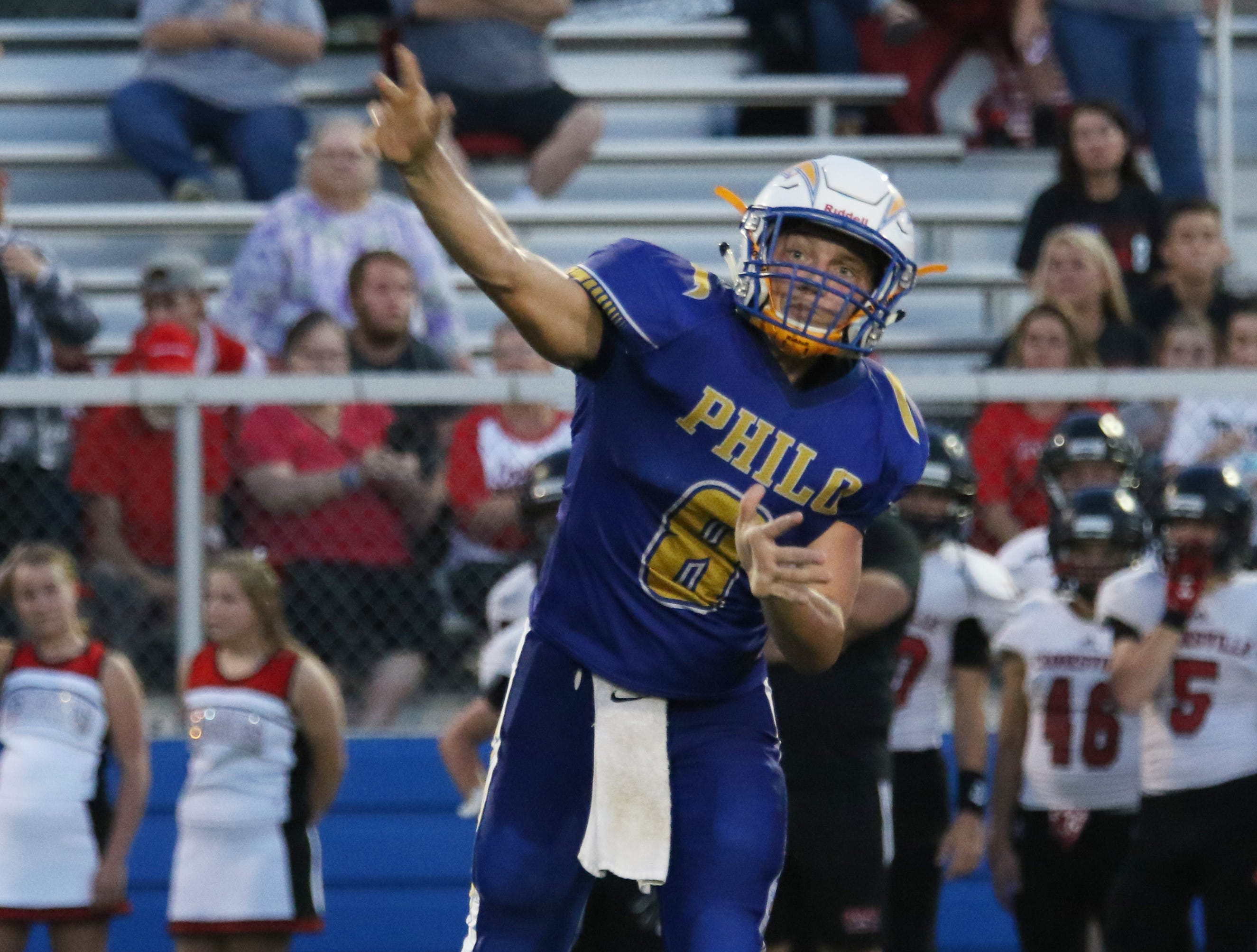 Philo's Hunter Adolph unleashes a pass against Crooksville.