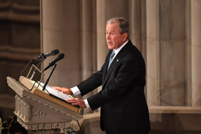 President George W. Bush at the memorial service for John McCain at the National Cathedral in Washington on Sept. 1, 2018.