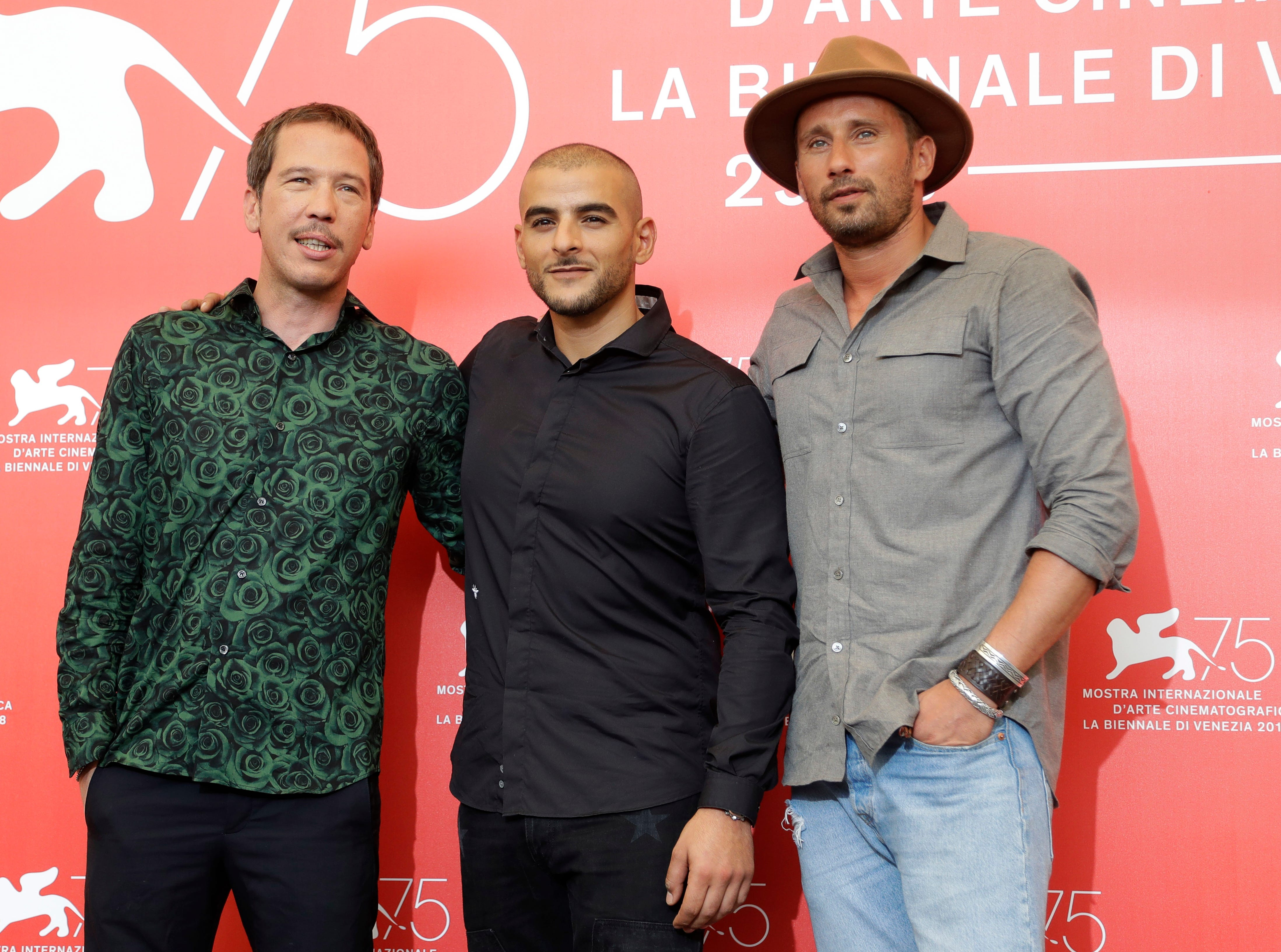 """Actors Reda Kateb, Sofiane Zermani and Matthias Schoenaerts posed for a picture at the photocall for """"Close Enemies."""""""