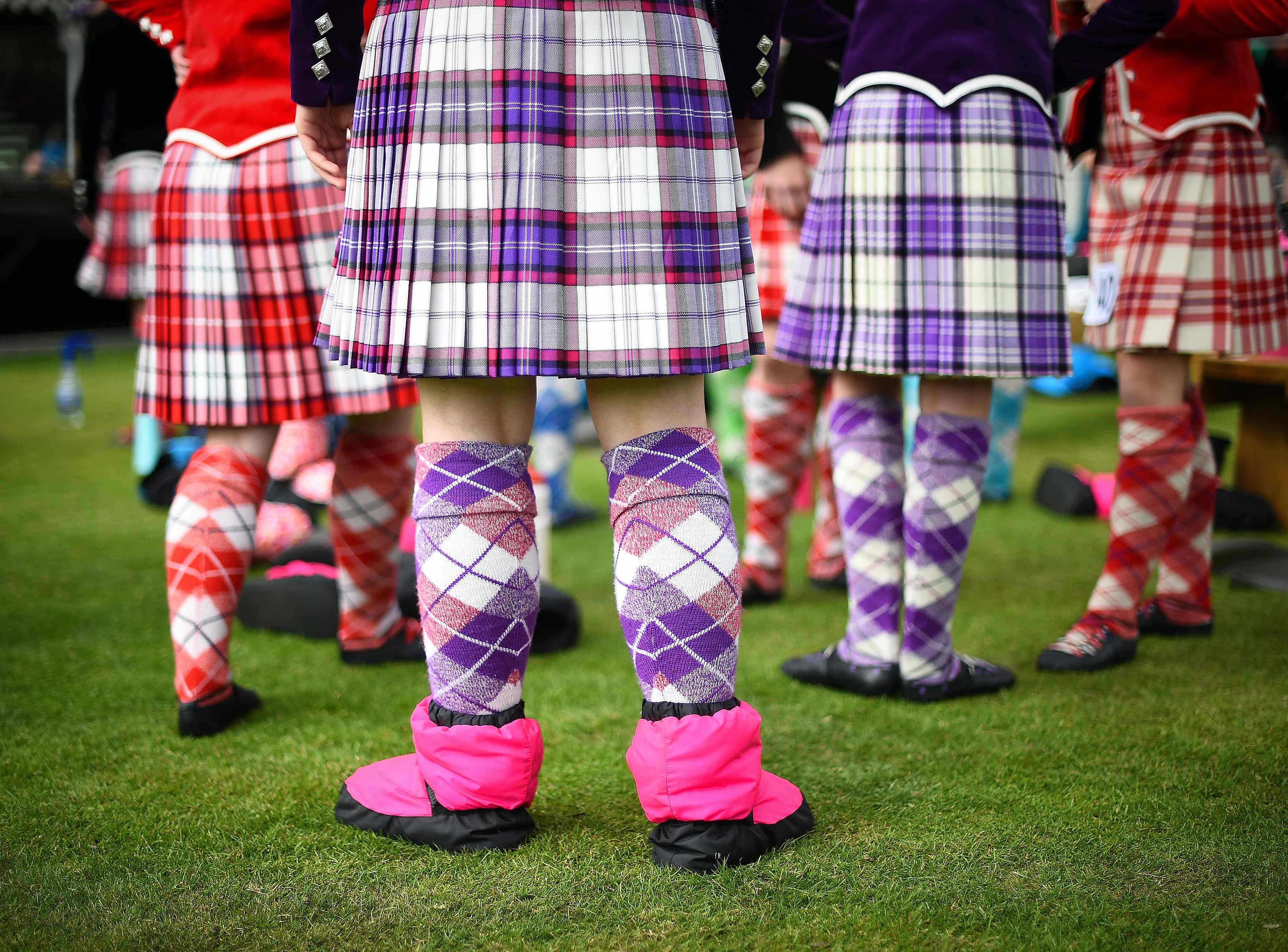 Competitors prepare to take part in the Highland Dancing event at the annual Braemar Gathering.