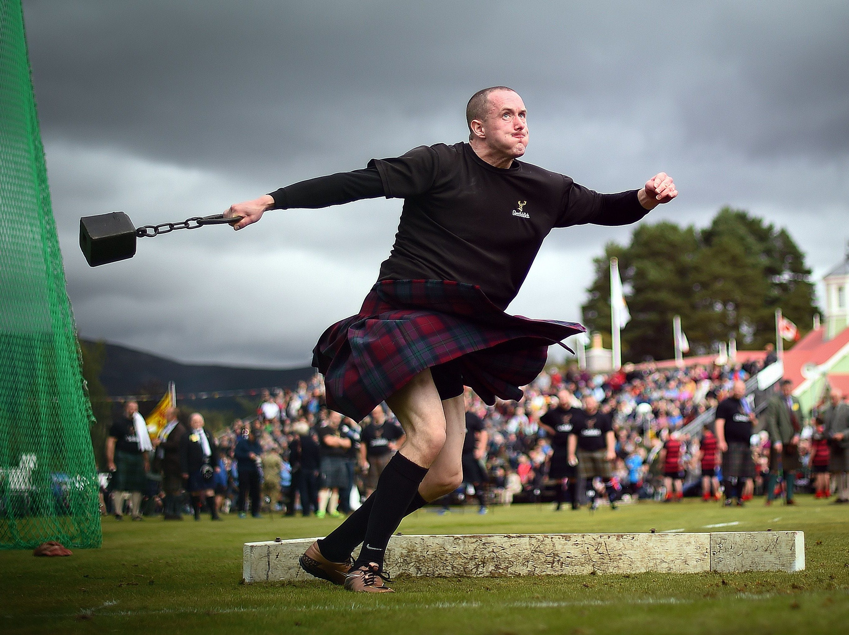 A competitor takes part in the Hammer Throw event at the annual Braemar Gathering in Braemar, central Scotland, on Sept. 1, 2018. The Braemar Gathering is a traditional Scottish Highland Games which predates the 1745 Uprising, and since 1848 it has been regularly attended by the reigning Monarch Queen Elizabeth and members of the Royal Family.