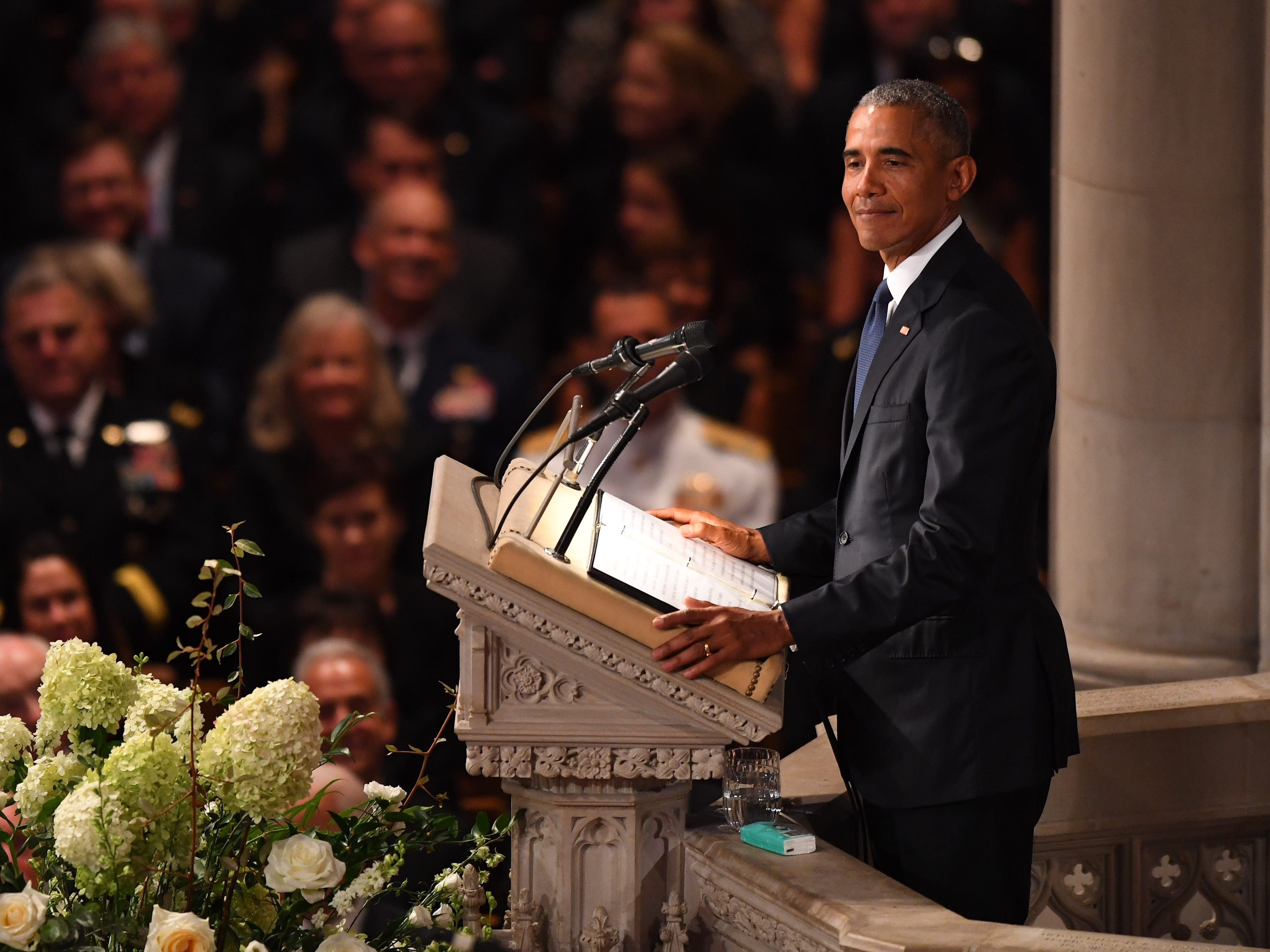 Former President Barack Obama speaks at the memorial service for John McCain at Sept. 1, 2018, at the National Cathedral.  Sen. McCain died on Aug. 25.