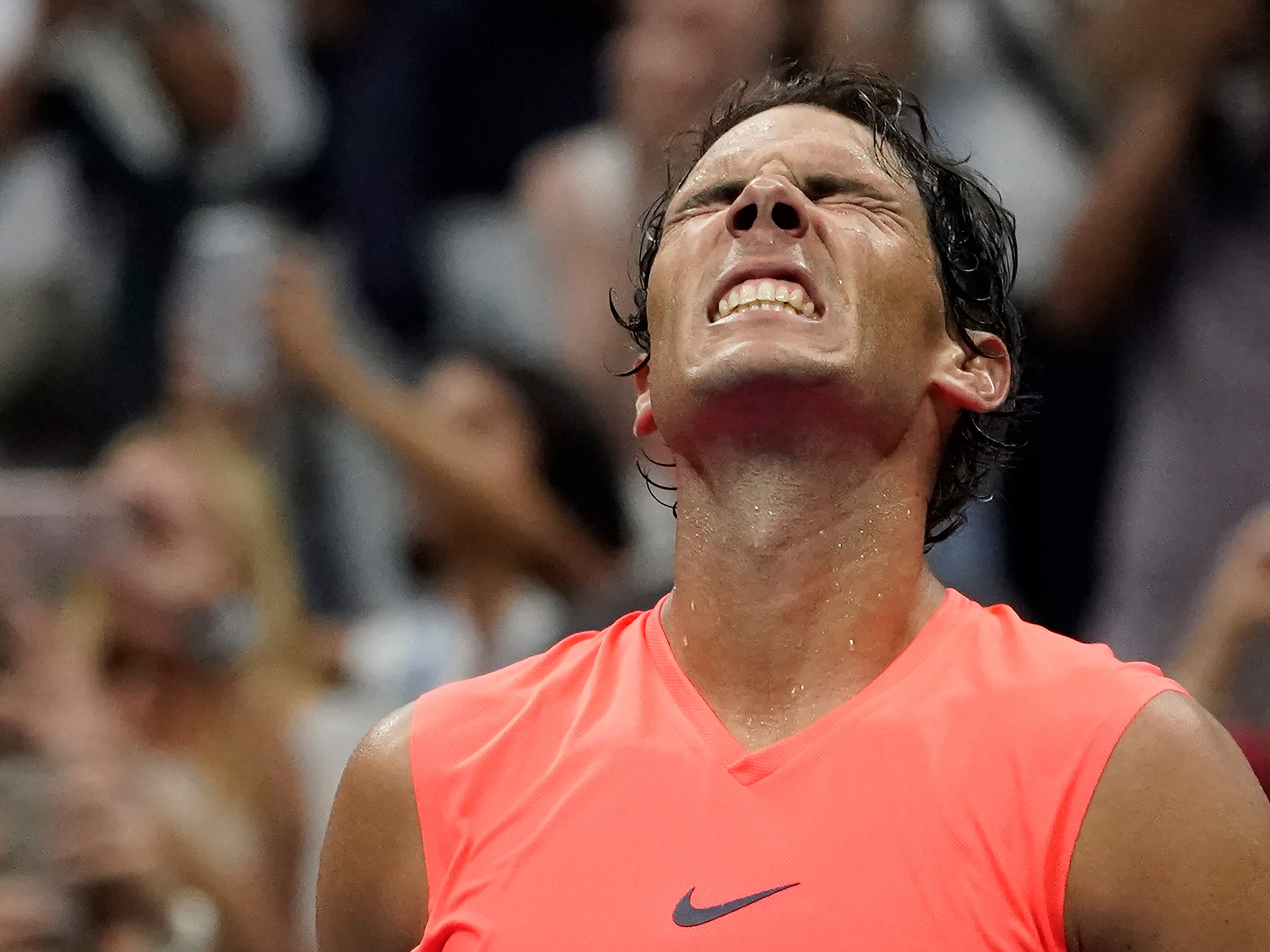 Rafael Nadal of Spain celebrates after beating Karen Khachanov of Russia in a third-round match.