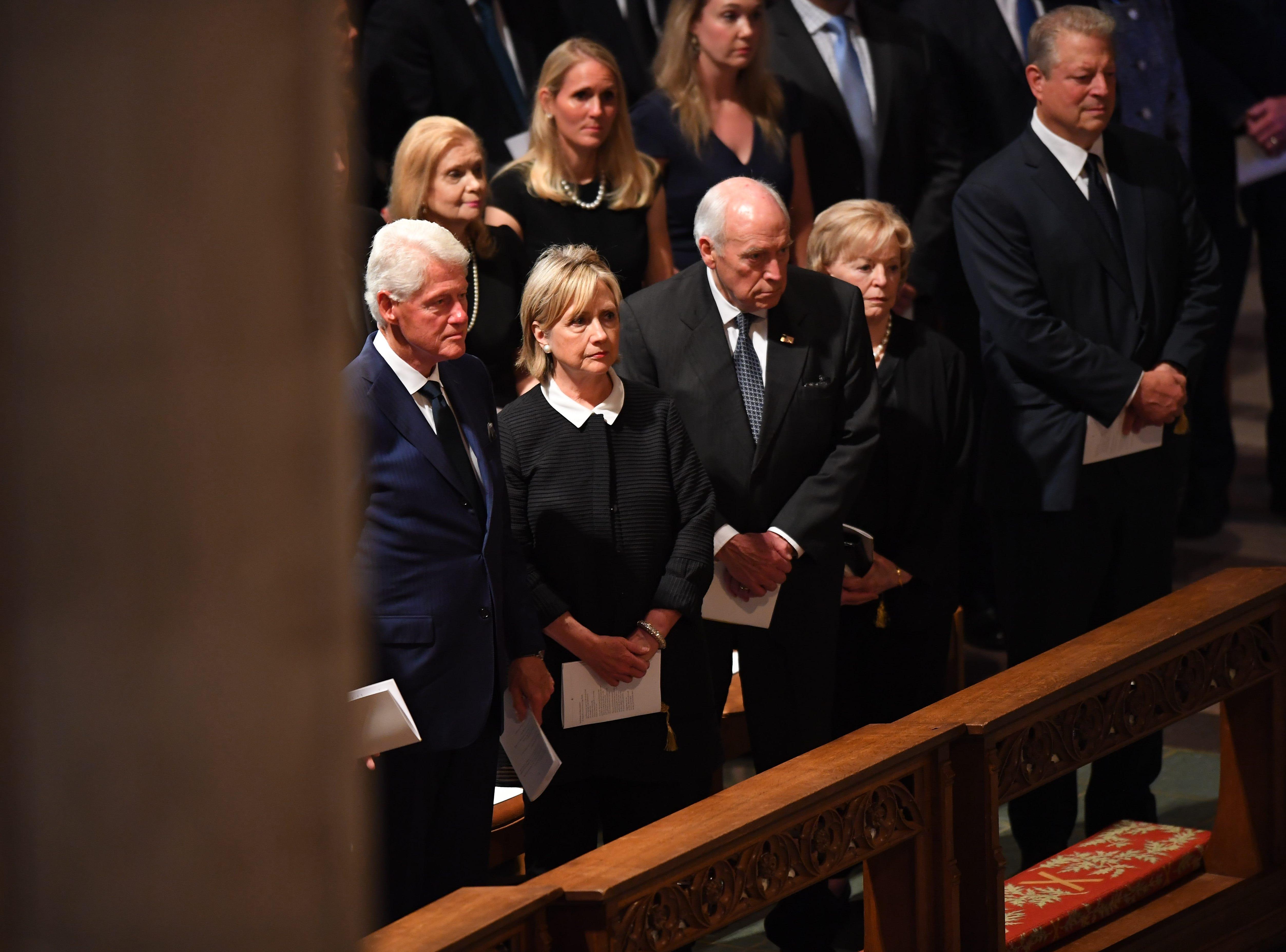 Former President Bill Clinton, left, former Secretary of State Hillary Clinton, former Vice President Dick Cheney, Lynne Cheney and former Vice President Al gore attend John McCain's memorial service on Sept. 1, 2018.