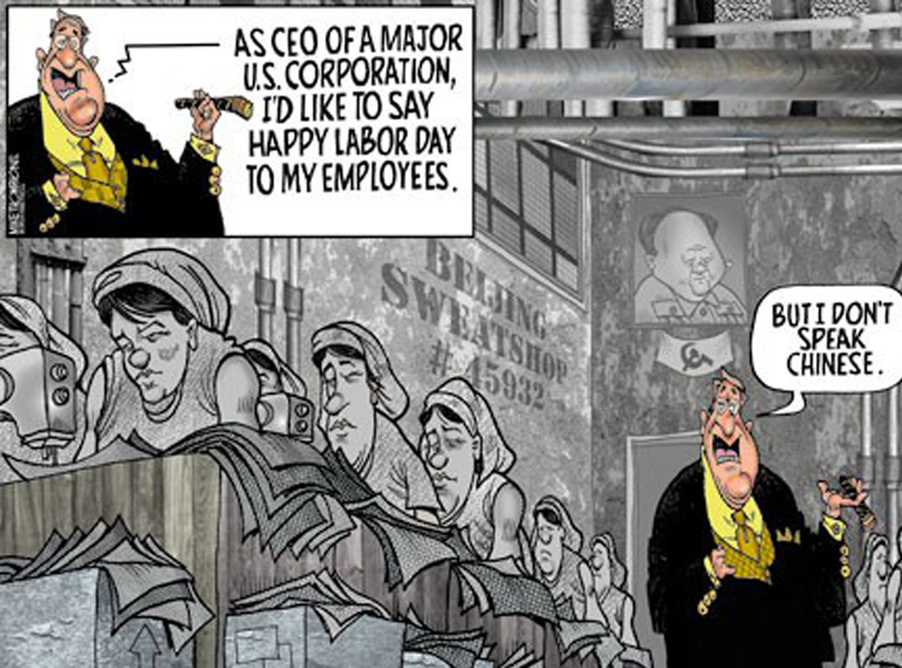 First published for Labor Day 2006. The cartoonist's homepage, freep.com/mikethompson