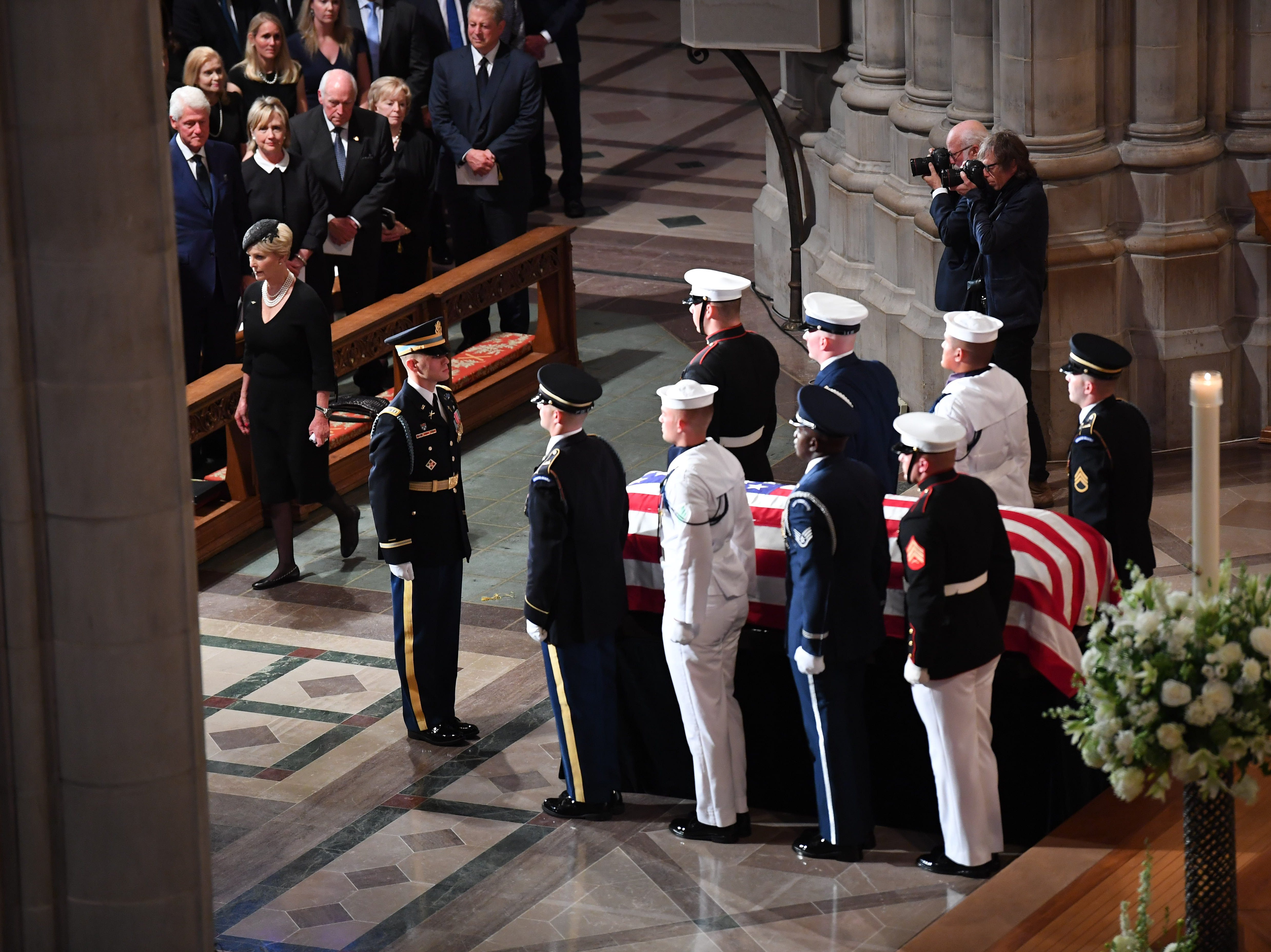 Cindy McCain arrives with with the casket of her husband, Saturday, during the at the National Cathedral in Washington, DC.