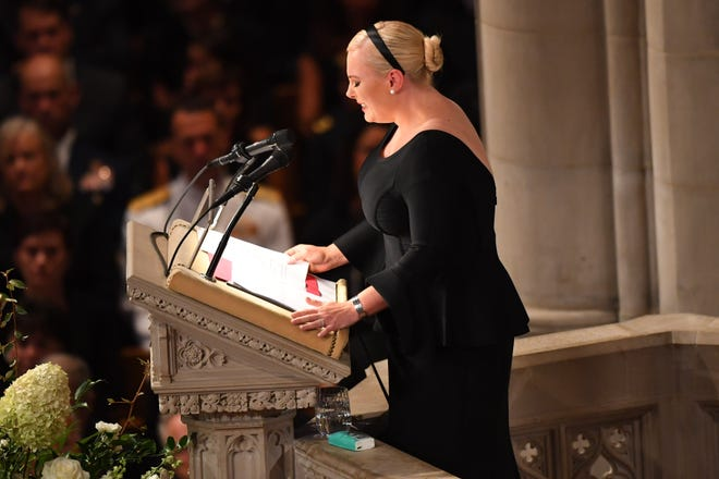 Meghan McCain eulogizes her father  John McCain at the National Cathedral, Saturday, during his memorial service.  Sen. McCain died on Aug. 25, 2018 of brain cancer.