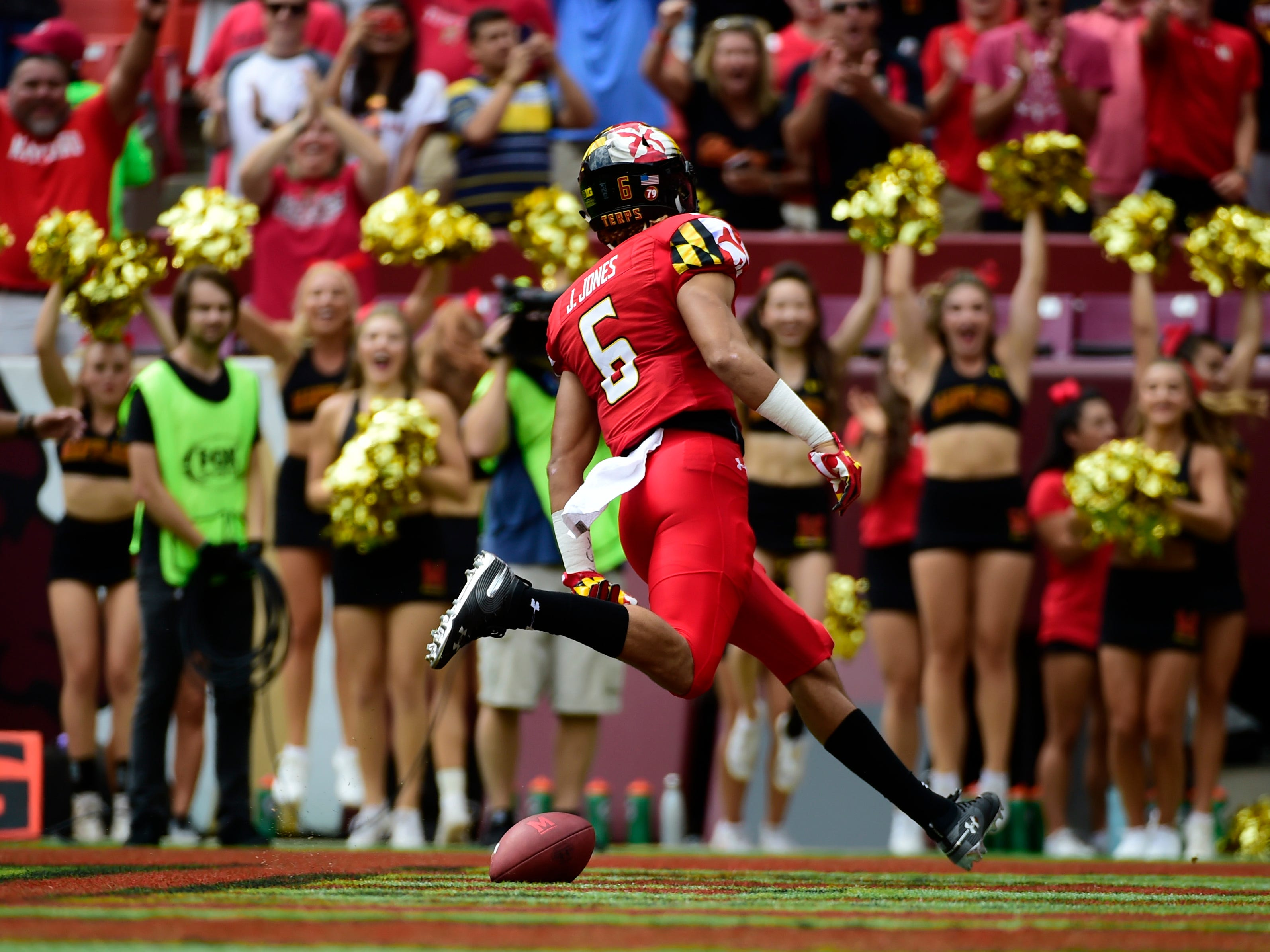 Maryland wide receiver Jeshaun Jones finds the end zone against Texas.