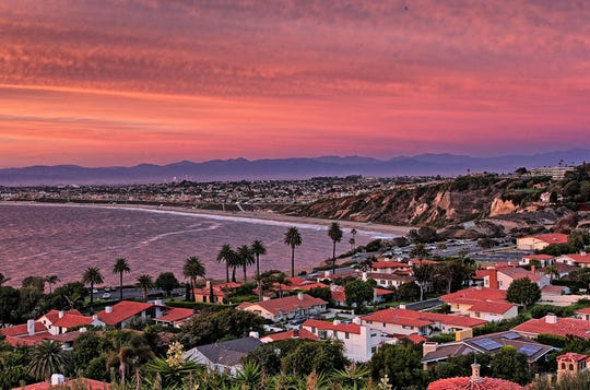 The view of the South Bay and Los Angeles from Aarchan Joshi's deck in Palos Verdes Estates