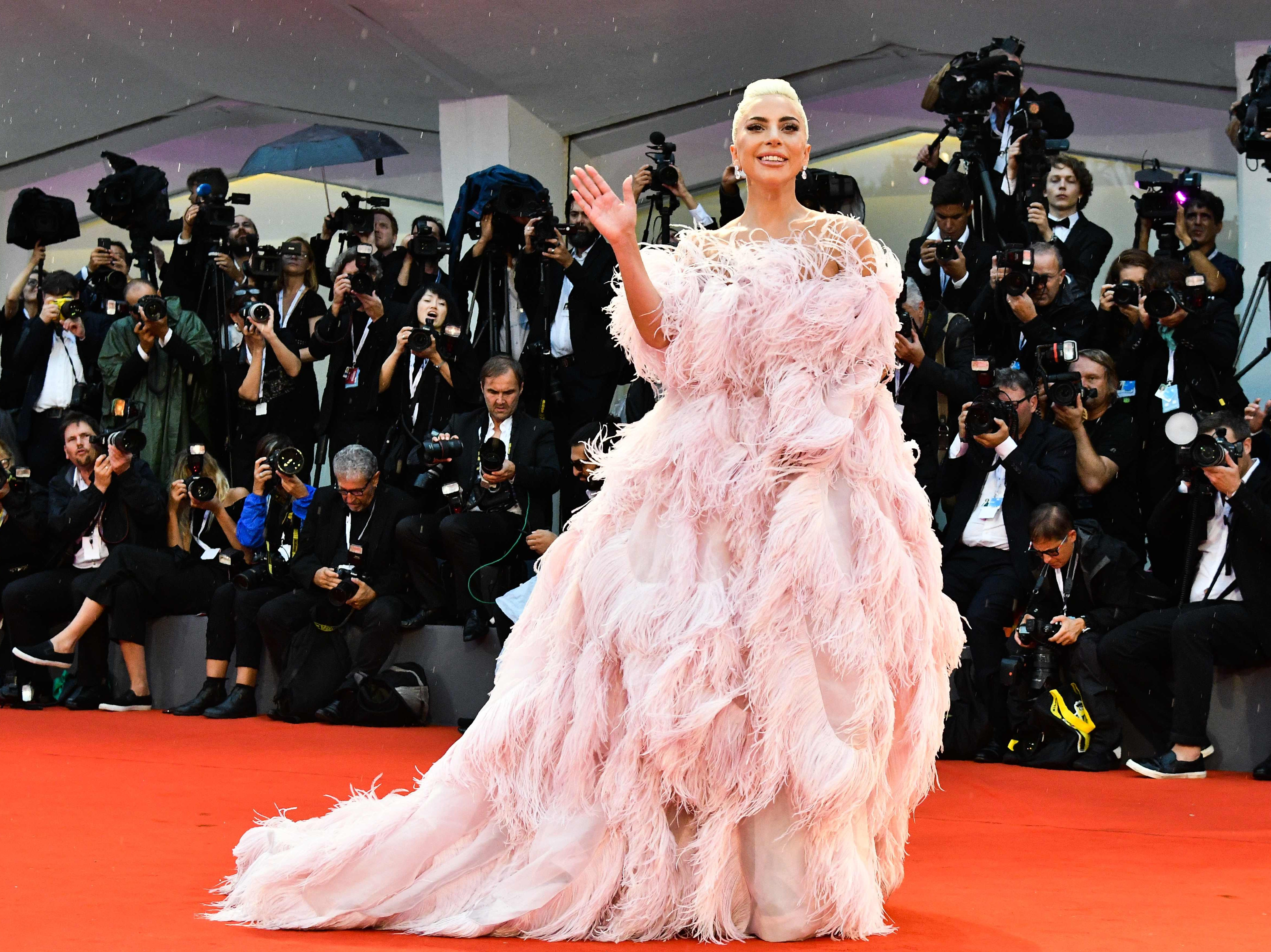 Lady Gaga wore a stunning pink gown to the event.
