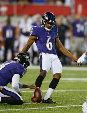 Baltimore Ravens' Kaare Vedvik kicks a 31-yard field goal against the Chicago Bears during the first half of the Pro Football Hall of Fame NFL preseason game Thursday, Aug. 2, 2018.