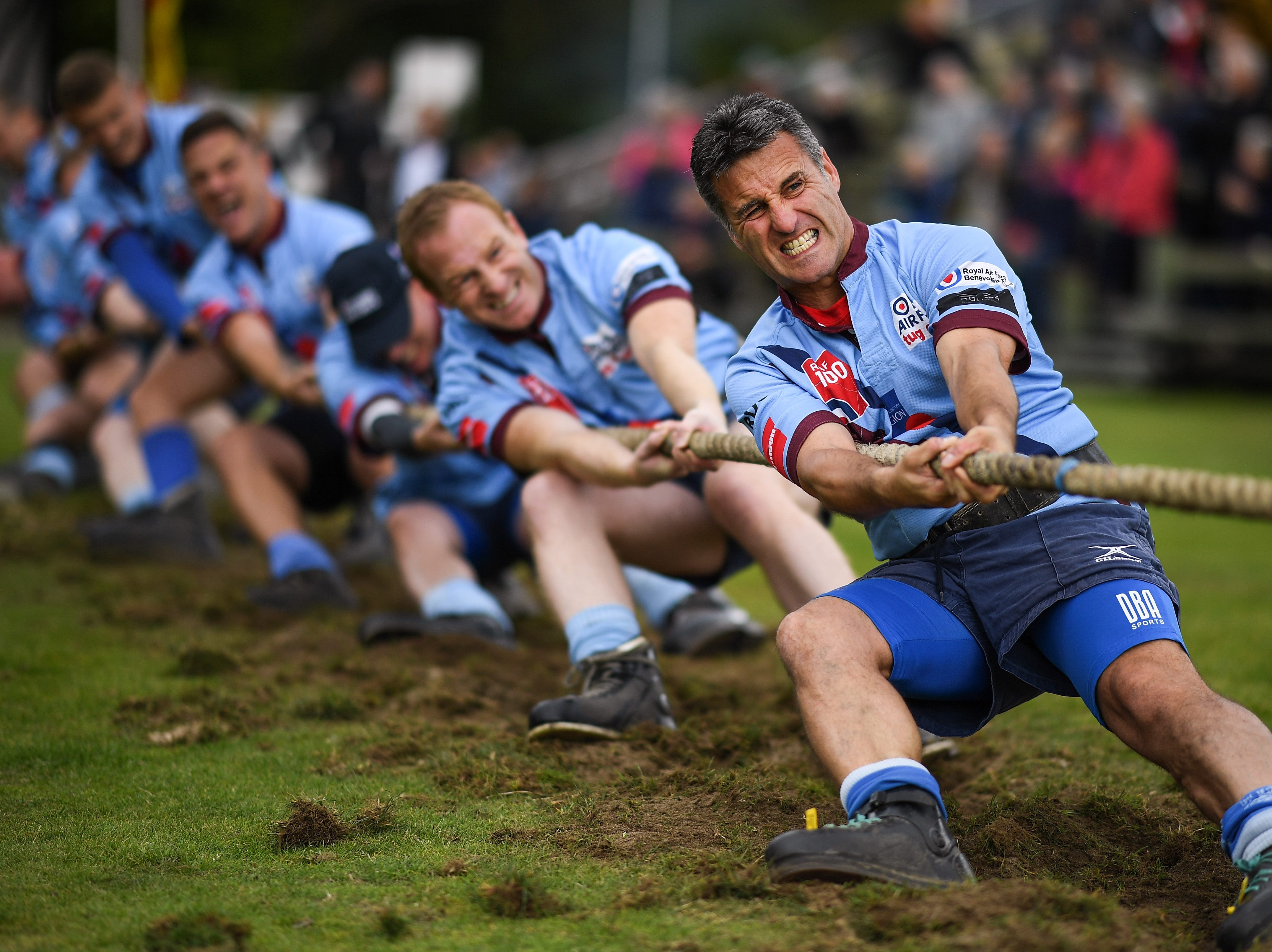 Competitors take part in the tug of war at the annual Braemer Highland Games at The Princess Royal and Duke of Fife Memorial Park on Sept. 1, 2018in Braemar, Scotland.