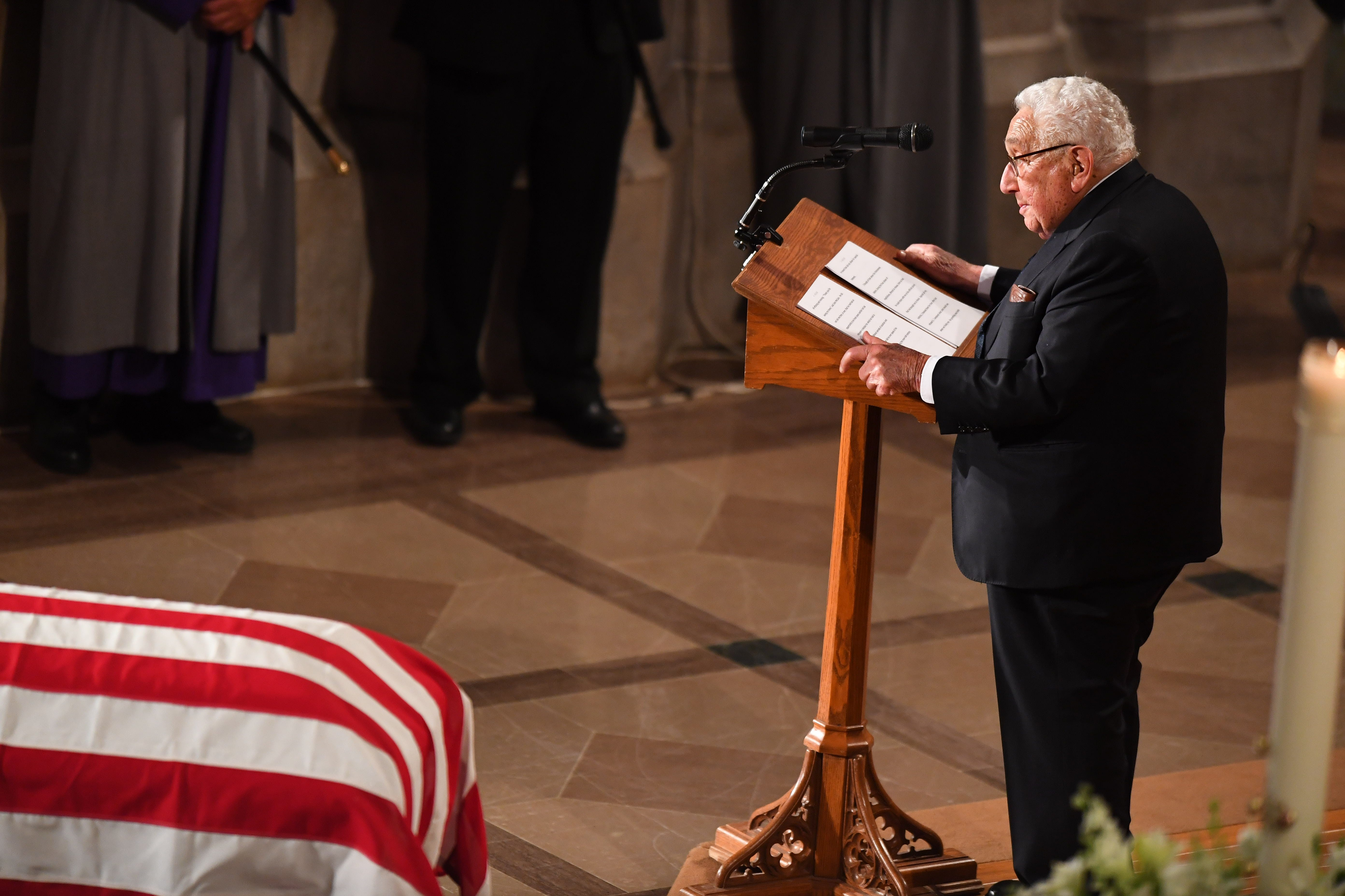 Former Secretary of State Henry Kissinger remembers John McCain at the National Cathedral on Sept. 1, 2018.