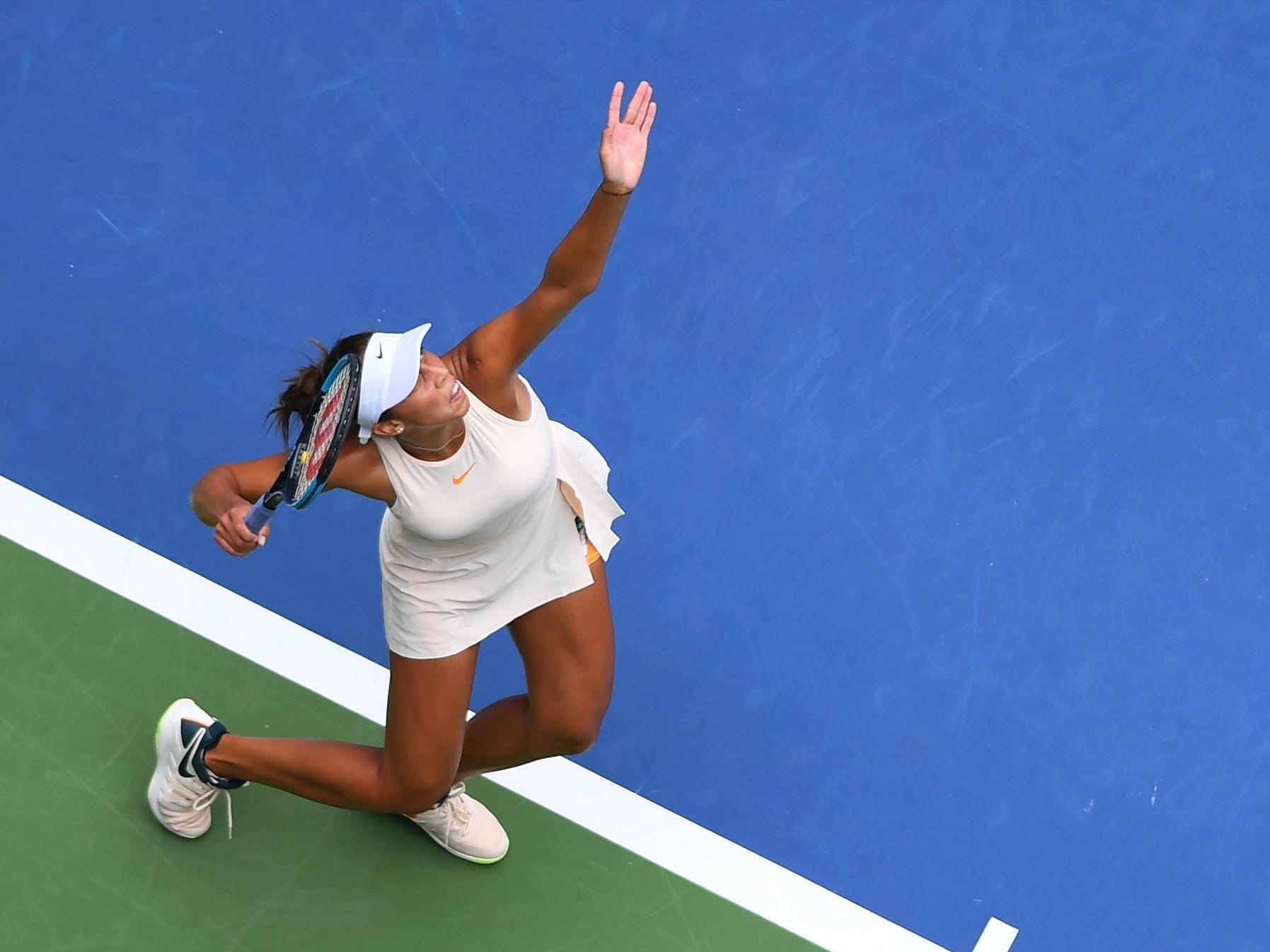 Madison Keys of the USA winds up to serve during her 4-6, 6-1, 6-2 victory against Aleksandra Krunic of Serbia.