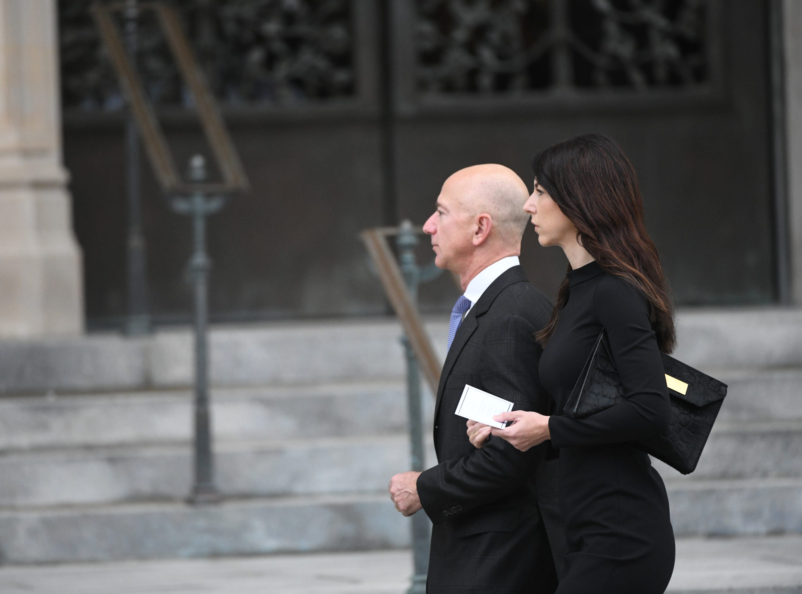 Amazon CEO Jeff Bezos and his wife MacKenzie Bezos approached the National Cathedral in Washington for a memorial service for John McCain.