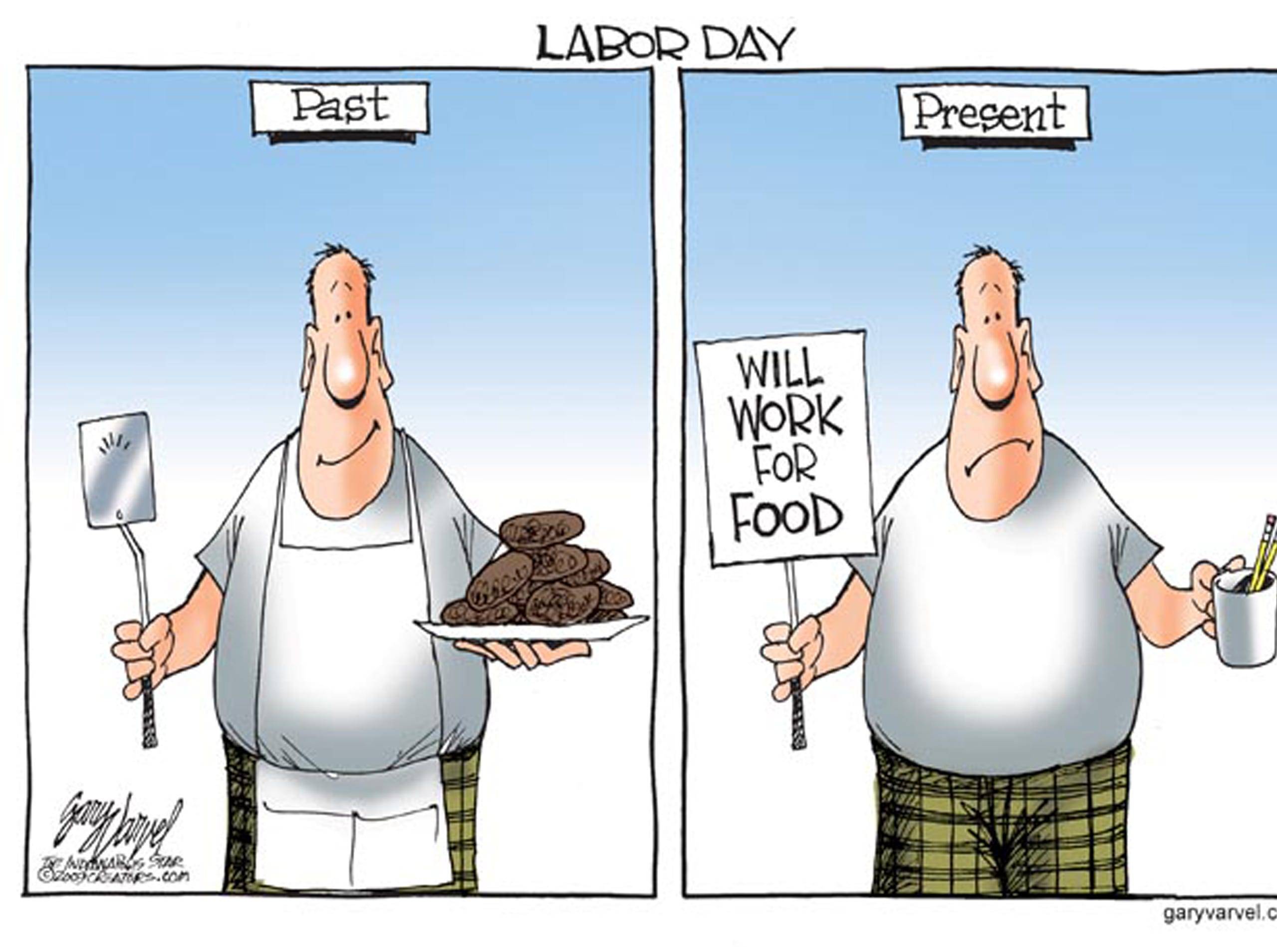 First published for Labor Day 2009. The cartoonist's homepage, indystar.com/opinion/varvel