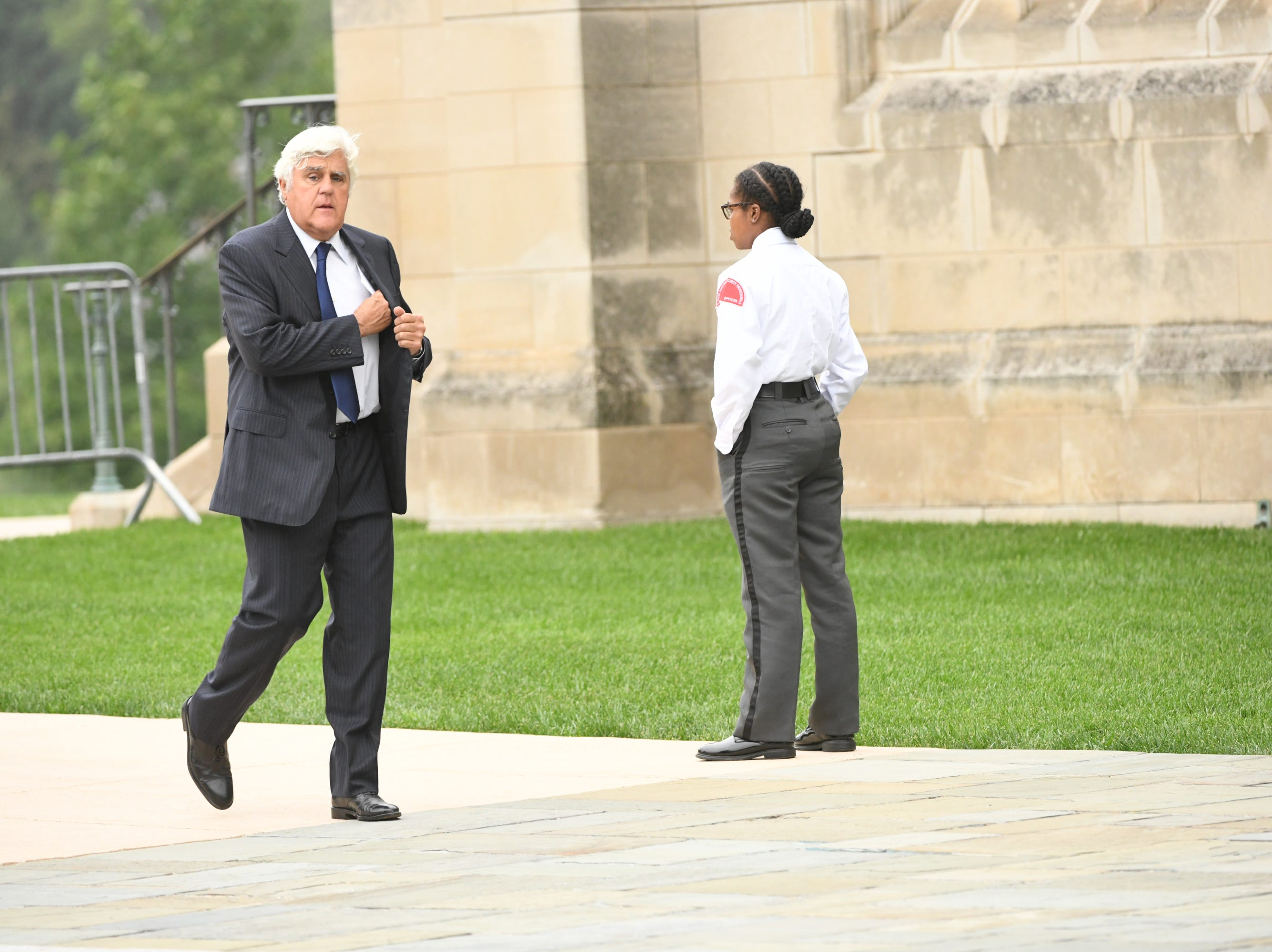 Comedian Jay Leno arrives for the memorial service of  John McCain.